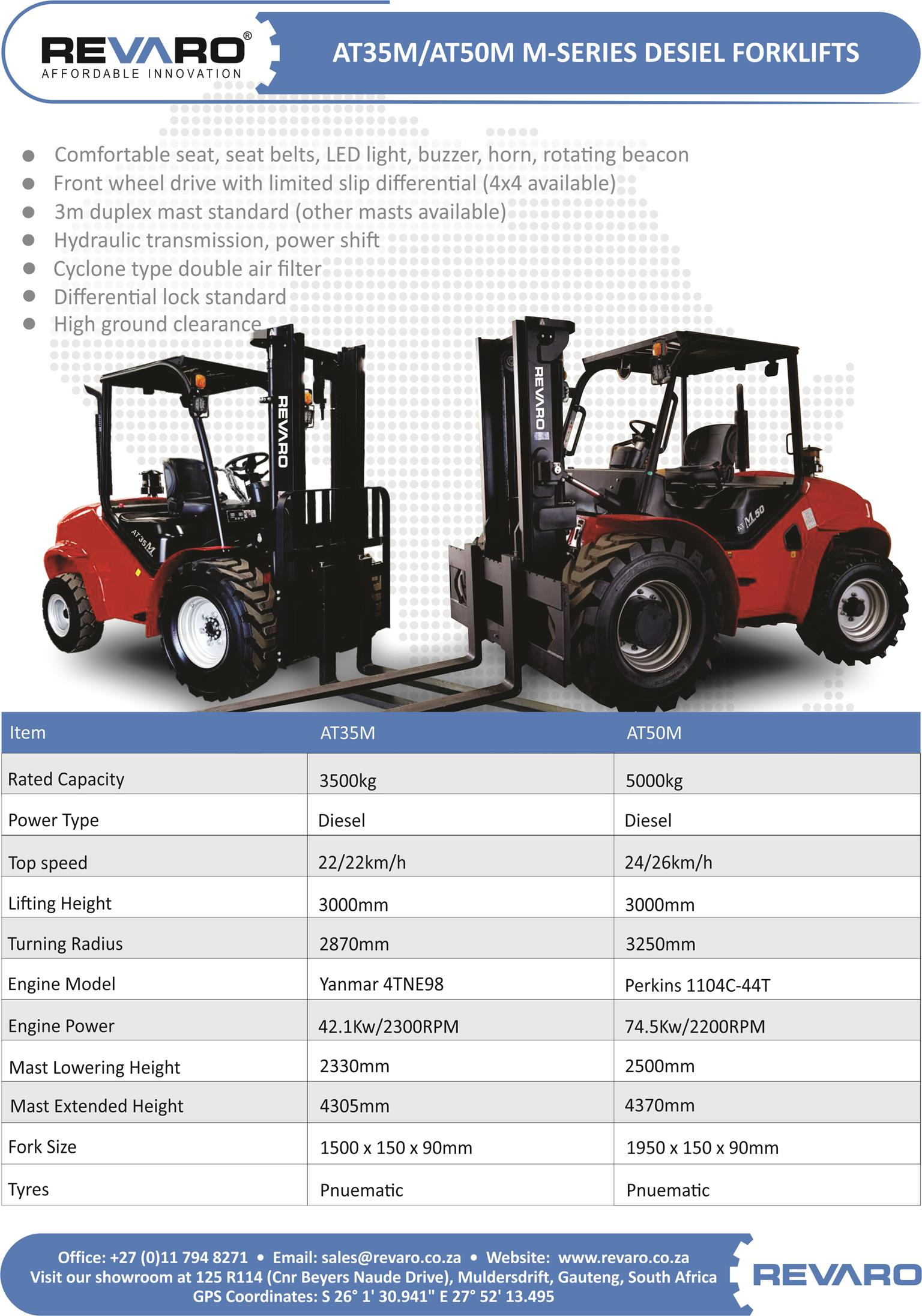 Revaro All Terrain forklifts comes in 2,5 3,5 and 5 tons