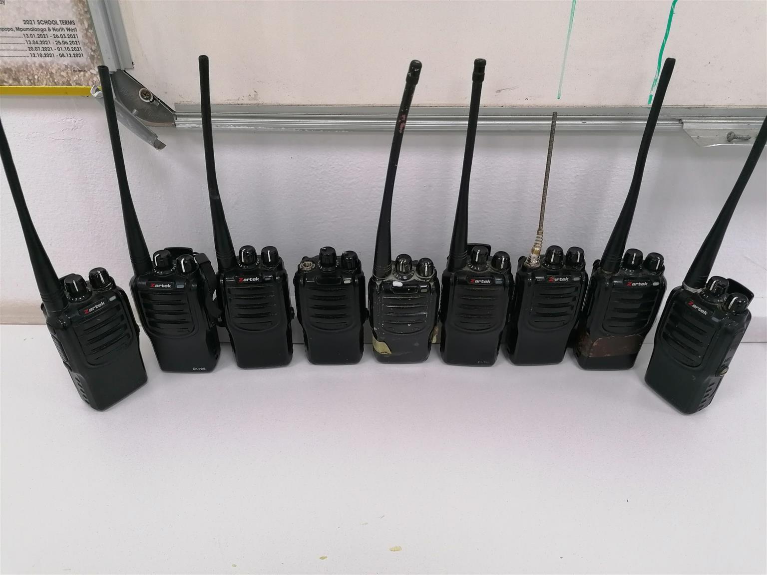 9 x zartek 2 way radios with chargers