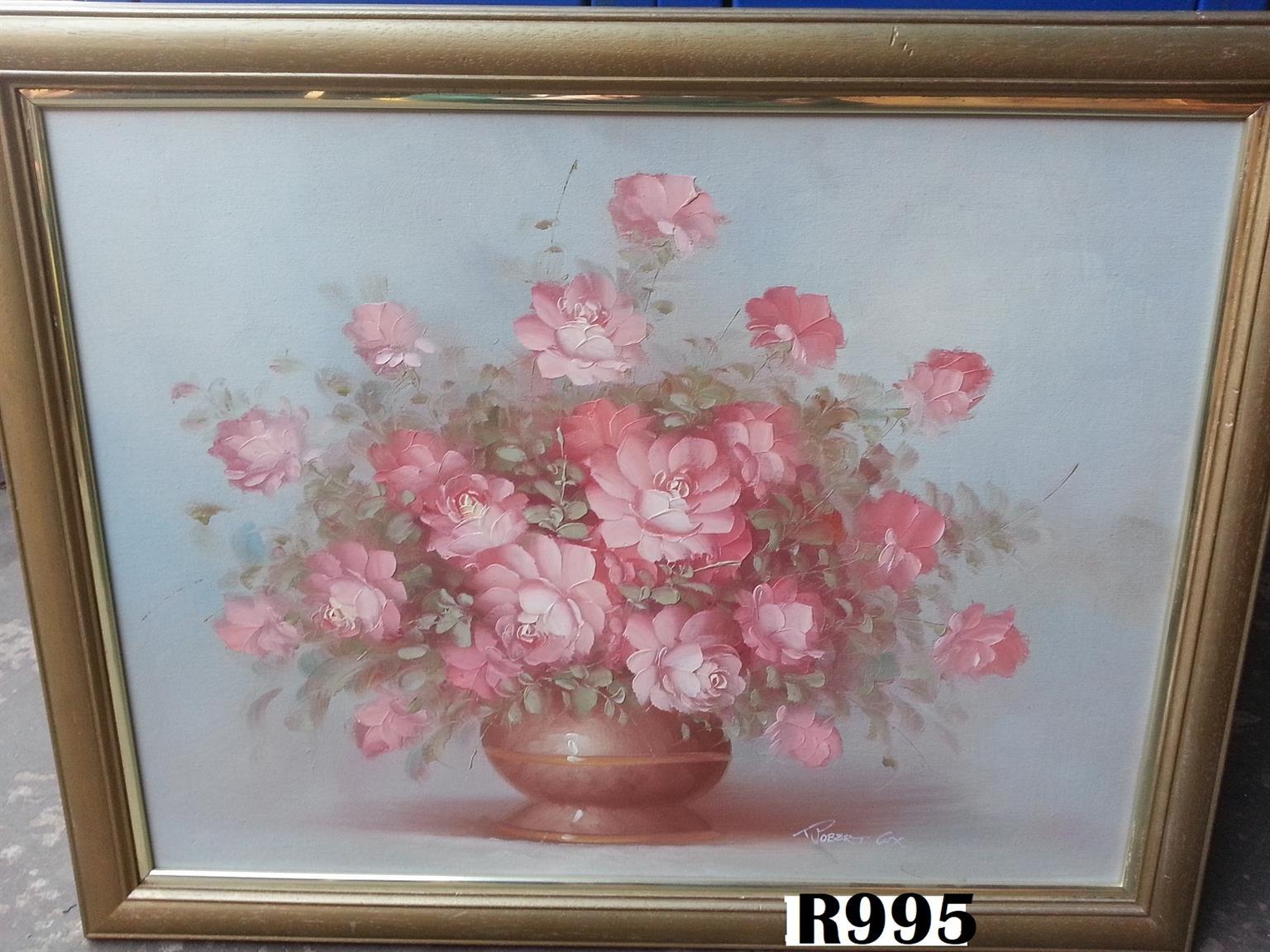 Robert Cox Oil Painting round vase (700x545)