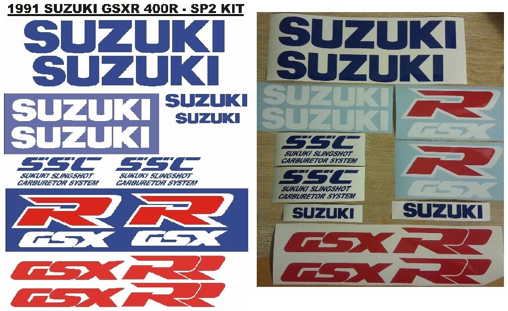 Decals / vinyl cut stickers graphics for a 1991 Suzuki GSXR 400R SP2 motorcycle.