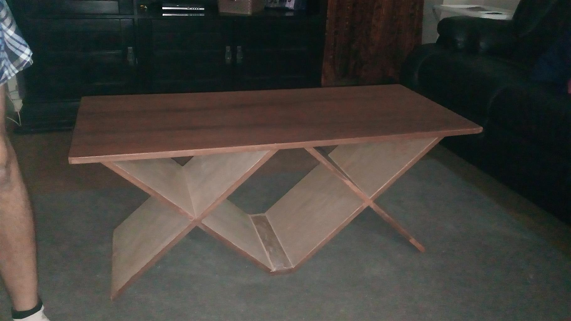 Wooden Mahogany Veneer & White Oak Veneer Table For Sale