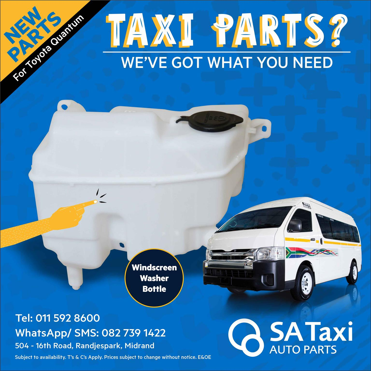 New Windscreen Washer Bottle suitable for Toyota Quantum - SA Taxi Auto Parts quality spares