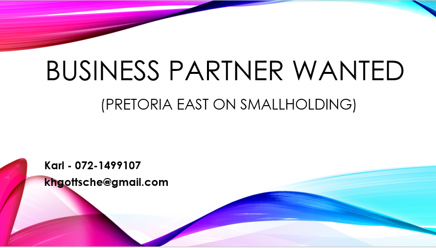 BUSINESS PARTNER WANTED (PRETORIA EAST ON