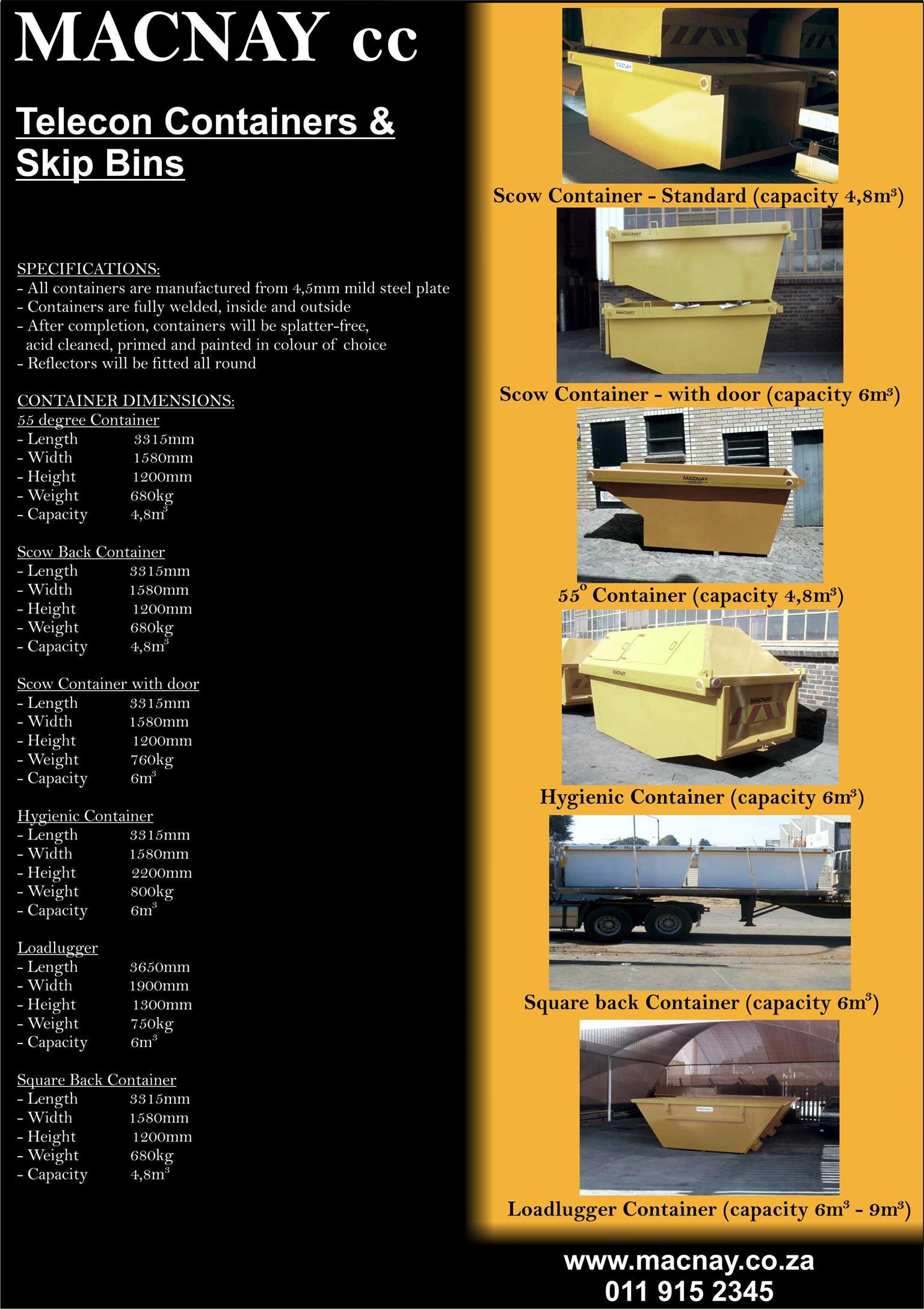 MACNAY Telecon & Skip Container