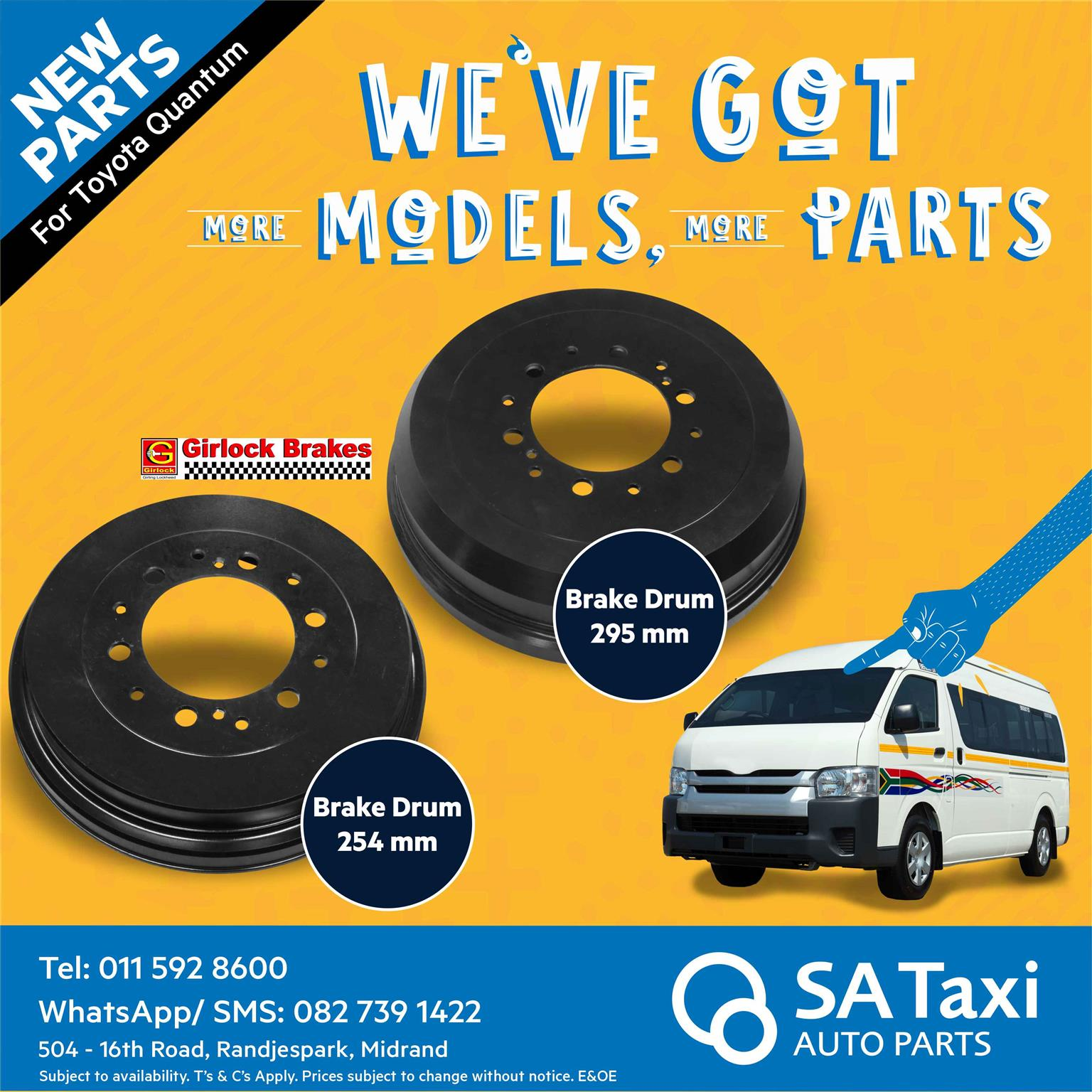New Girlock Brake Drum suitable for Toyota Quantum - SA Taxi Auto Parts quality taxi spares