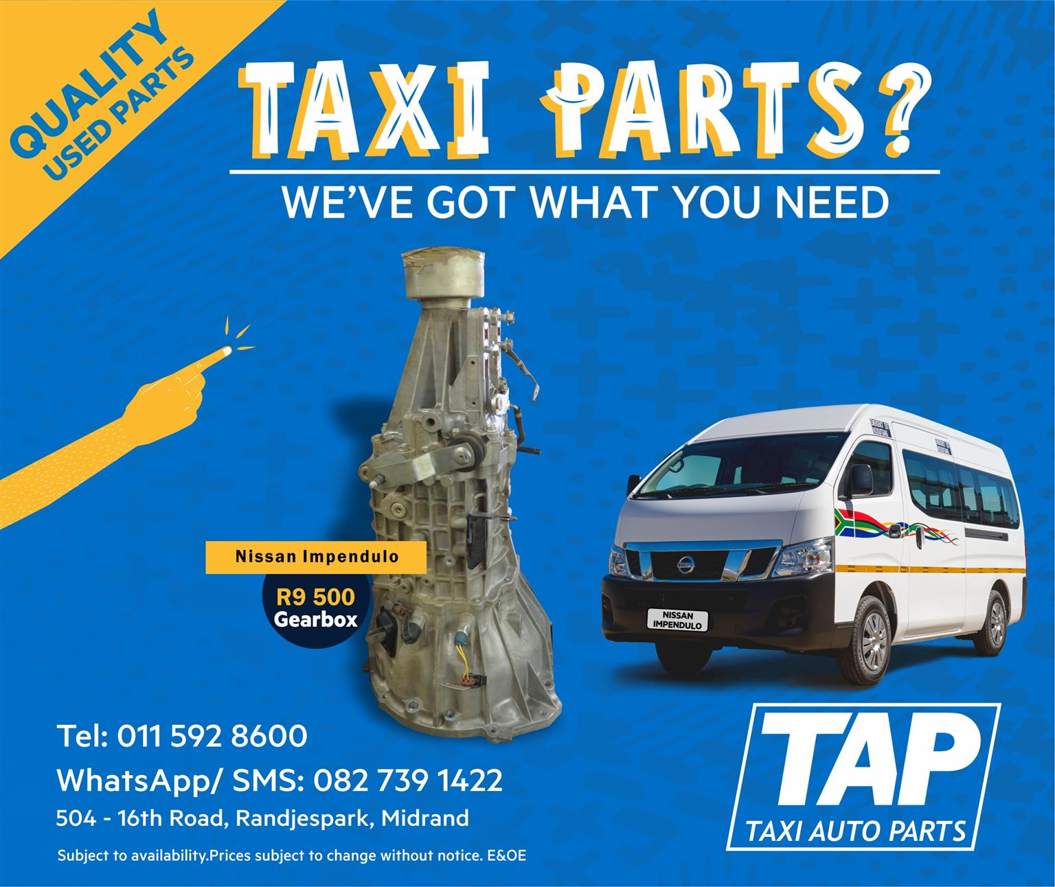 Nissan NV350 Impendulo GEARBOX - Taxi Auto Parts quality used spares - TAP