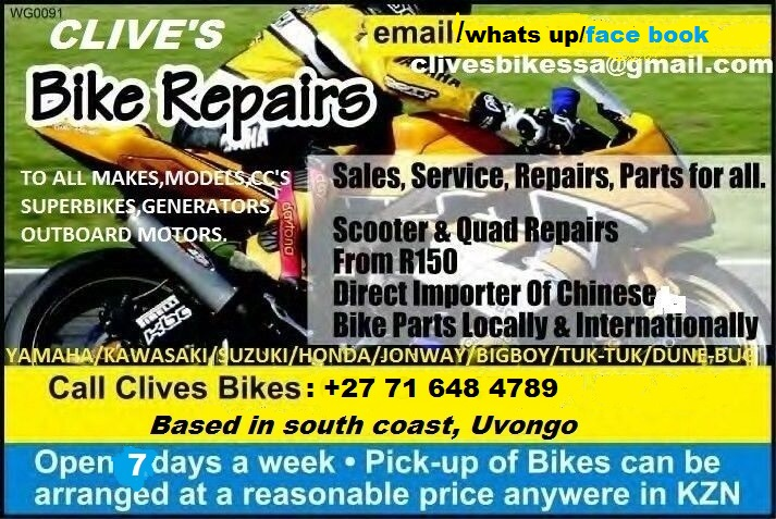 MOTORCYCLE/JETSKI/OUTBOARD ENGINE AND PARTS @CLIVES BIKES IMPORTERS