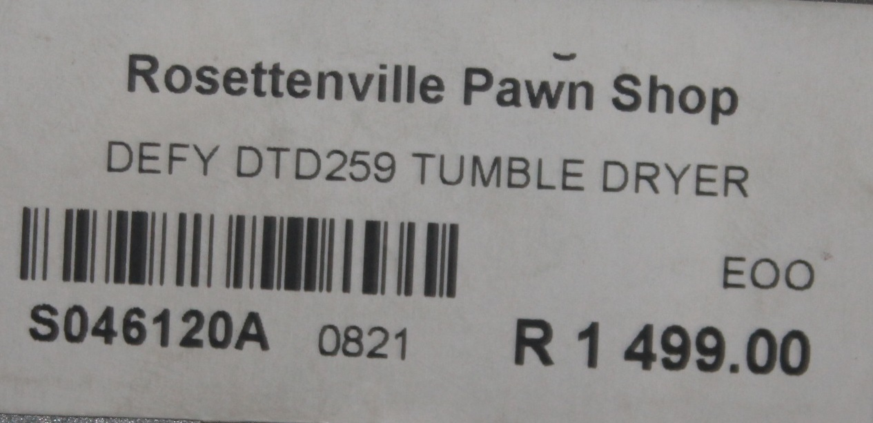 Defy dtd 259 tumble dryer S046120A #Rosettenvillepawnshop