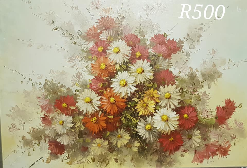 Red and white flower bouquet painting