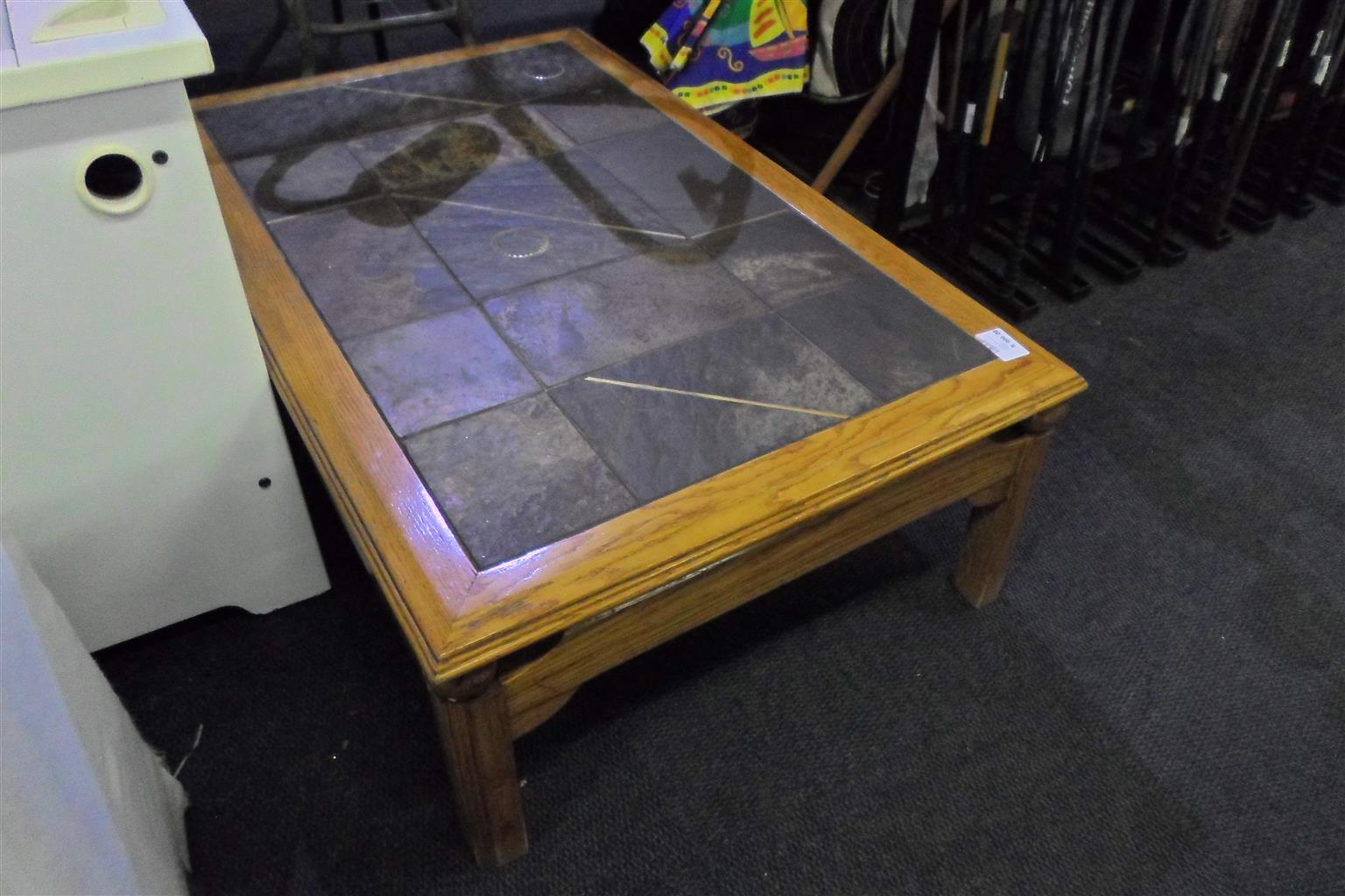 Wooden Coffee Table with Tile Center