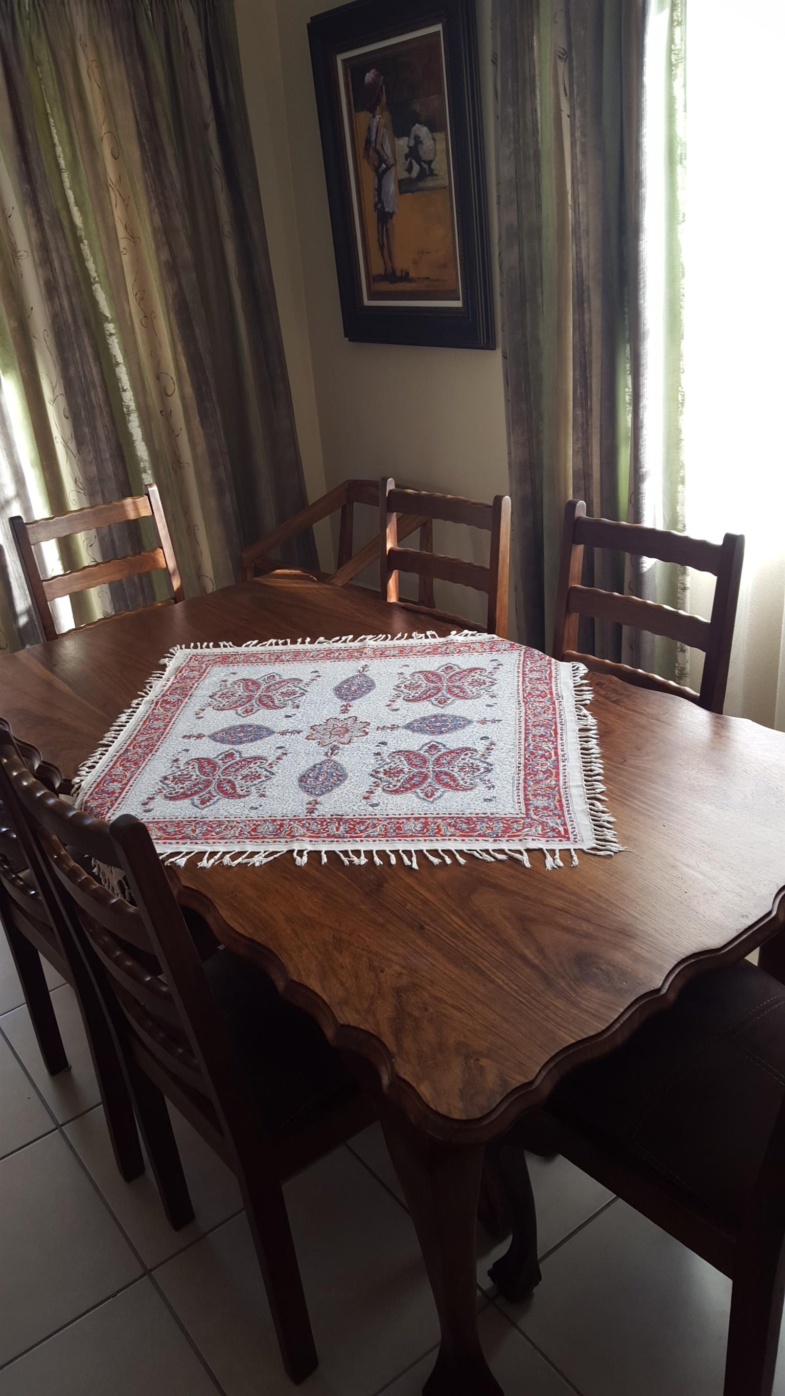 6 Seat Teak Ball & Claw Dining Room Set