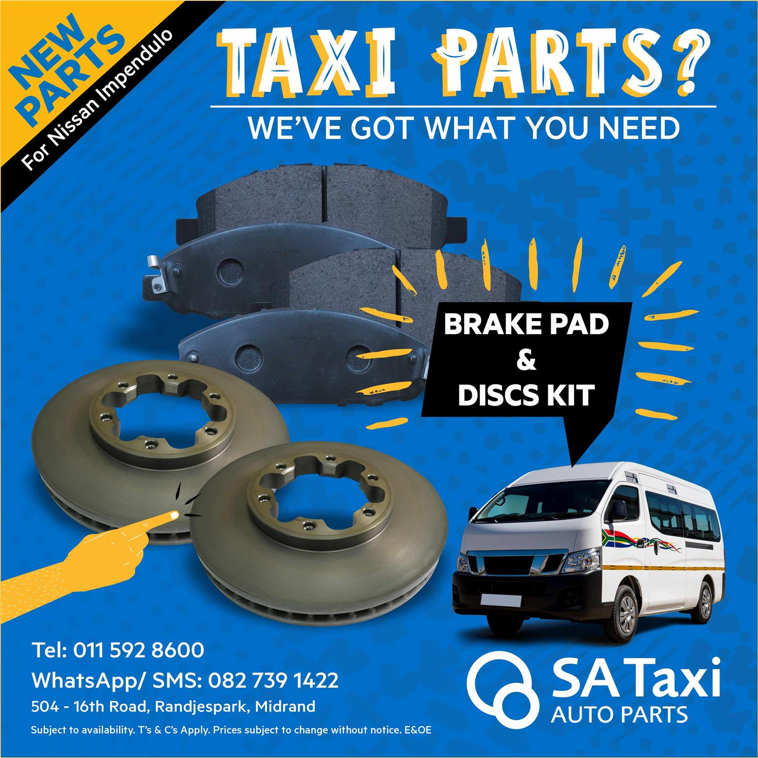 Brake Pad and Disc Kit suitable for Nissan NV350 Impendulo  - SA Taxi Auto Parts quality spares