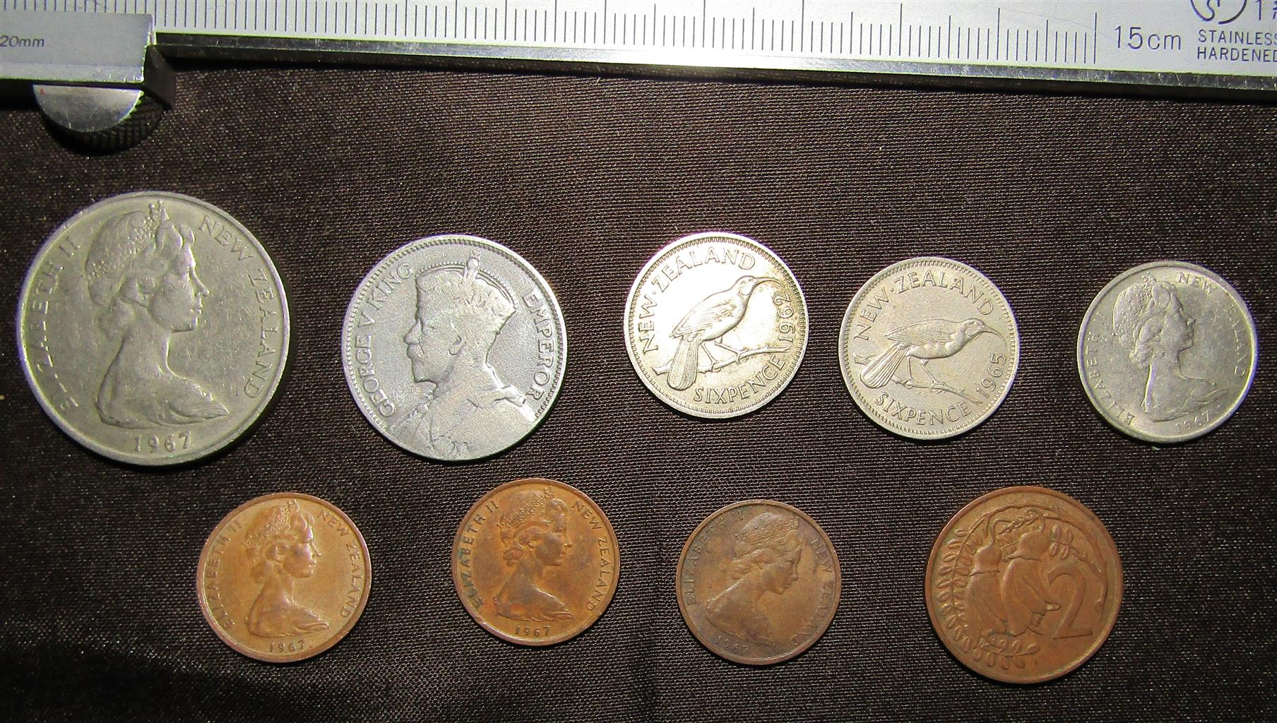 Assorted New Zealand Coins x 9