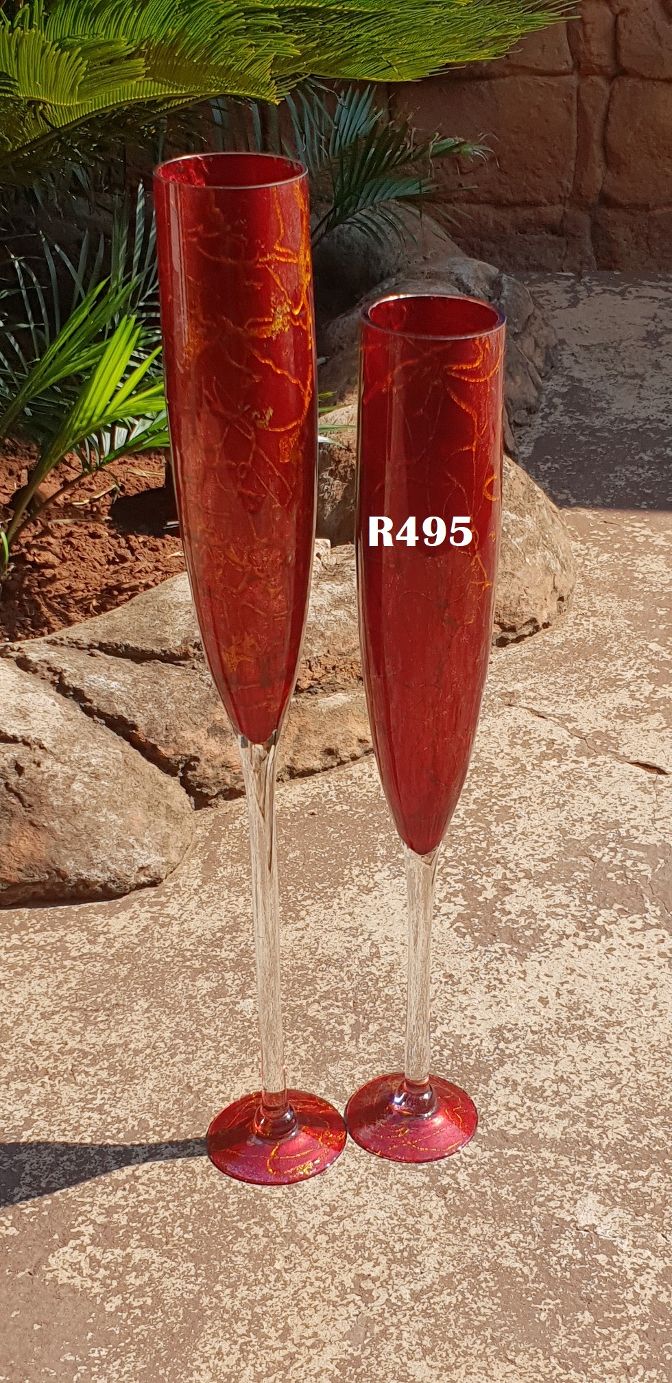 2 x Luxury Champagne Flute Vases (795mm and 695mm high)