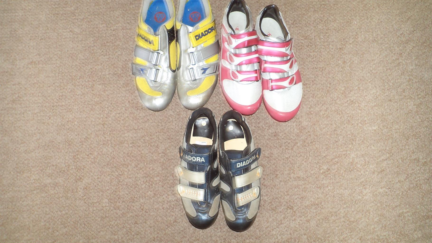 assorted cycling shoes