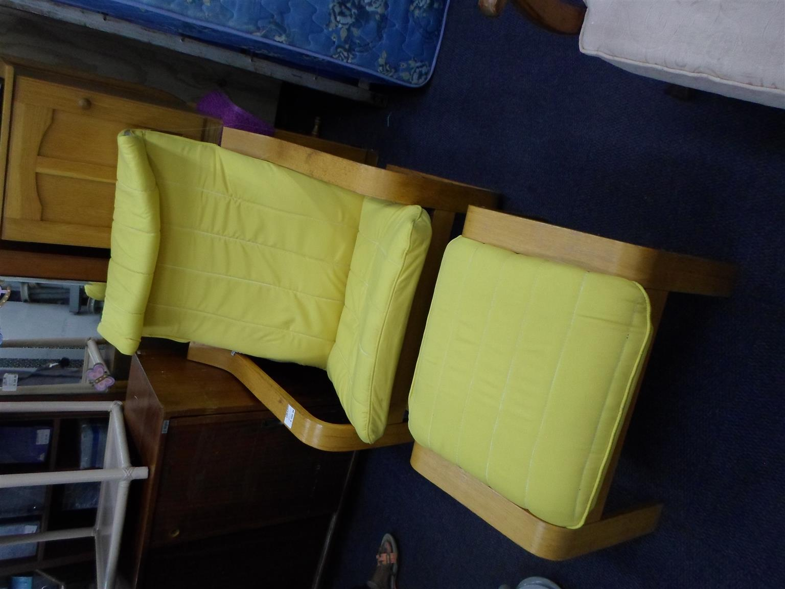 Wooden Material Chair + Ottoman