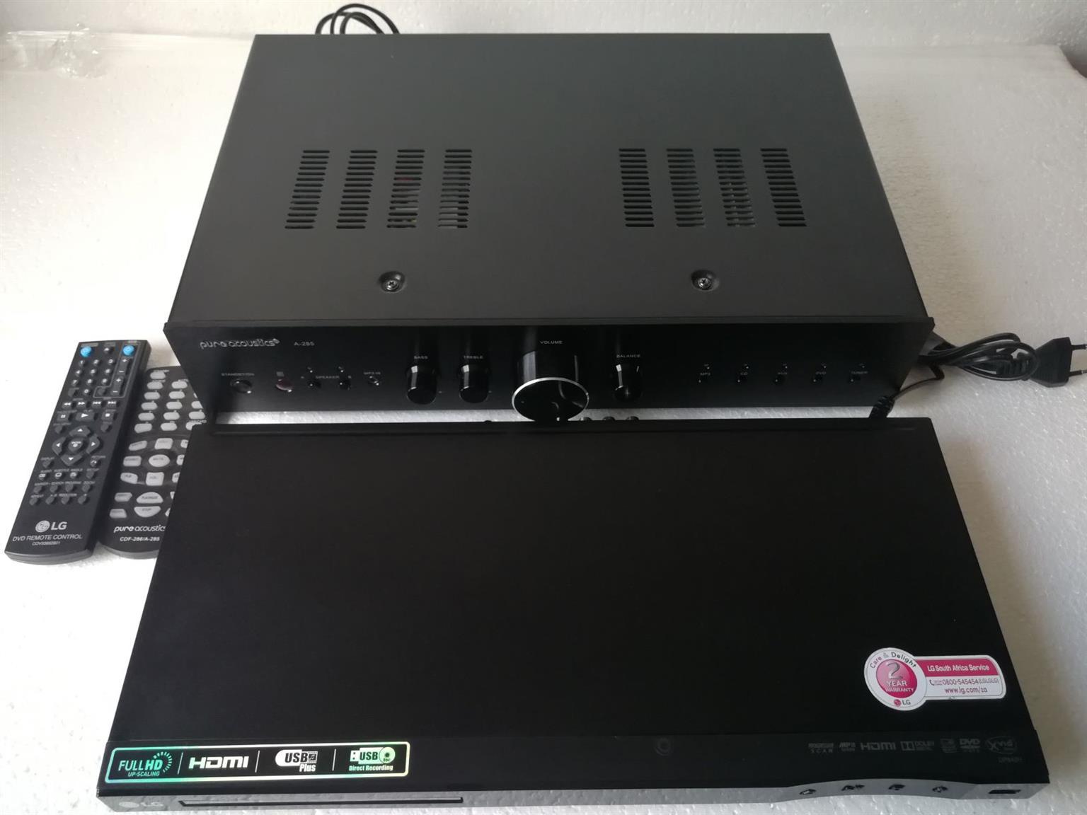 Pure Acoustic Amplifier A285 & LG DVD Player (DP842H)