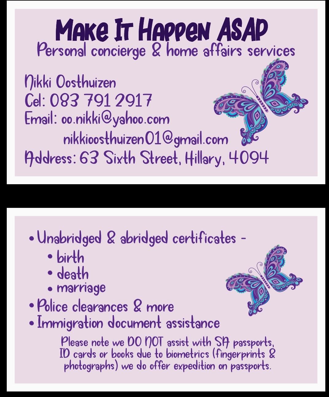 Home affairs concierge services
