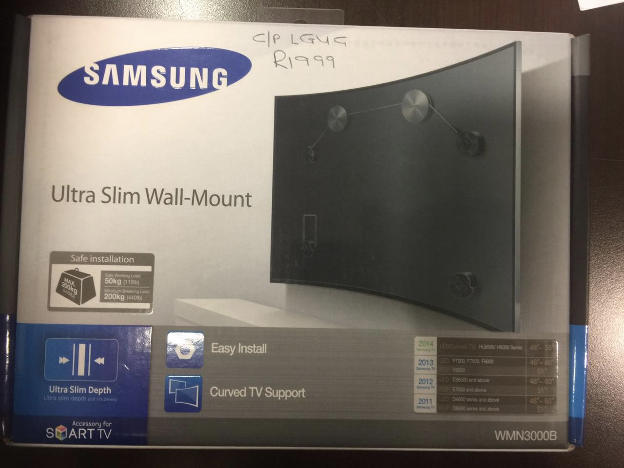 Samsung TV wall mounting bracket system for the fixing of the TV close up agains