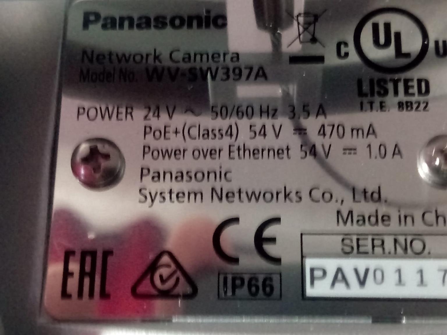 Panasonic WV-SW397A Network Cameras