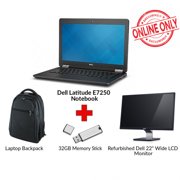 Refurbished DELL LATITUDE E7250 Core i5 Notebook Bundle