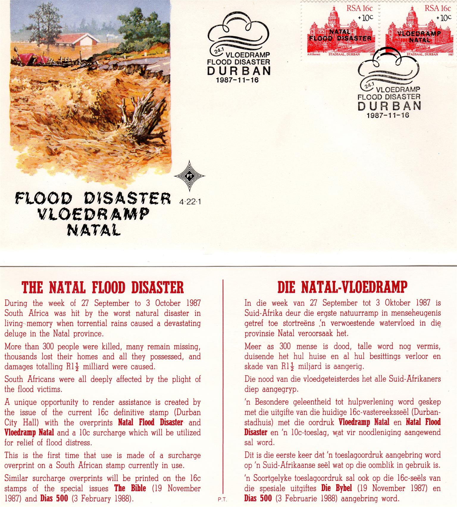 Commemorative Stamp & Envelope Set - The Natal Flood Disaster 1987