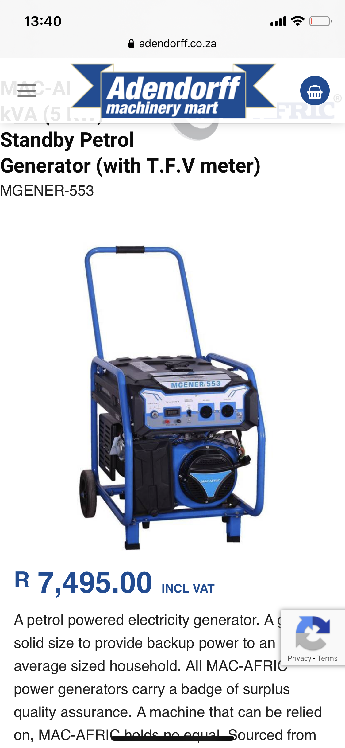 Brand new 5KW MGENER- 553 with TVF meter ( MacAfric petrol)