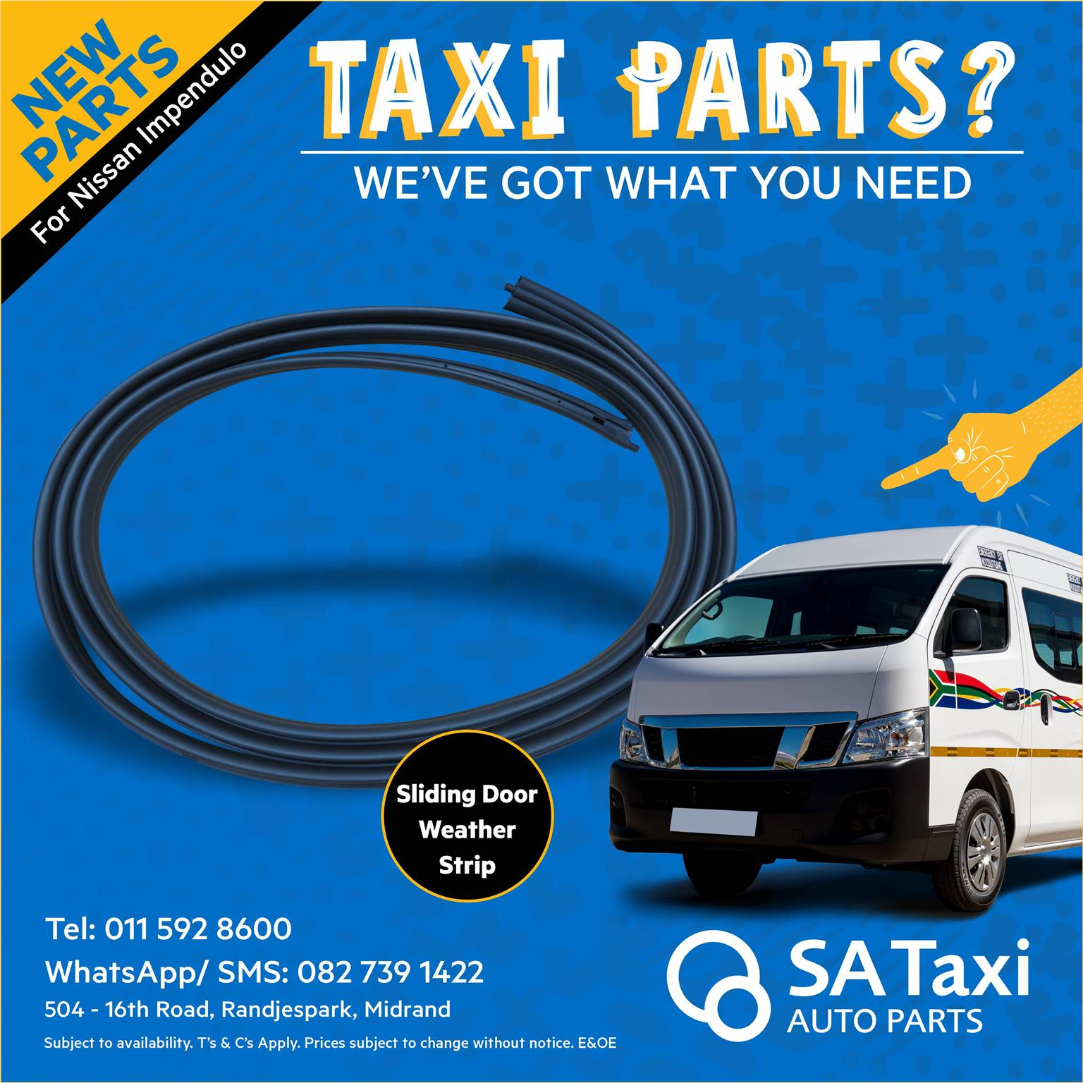 NEW Sliding Door Weather Strip suitable for Nissan Impendulo - SA Taxi Auto Parts quality new spares