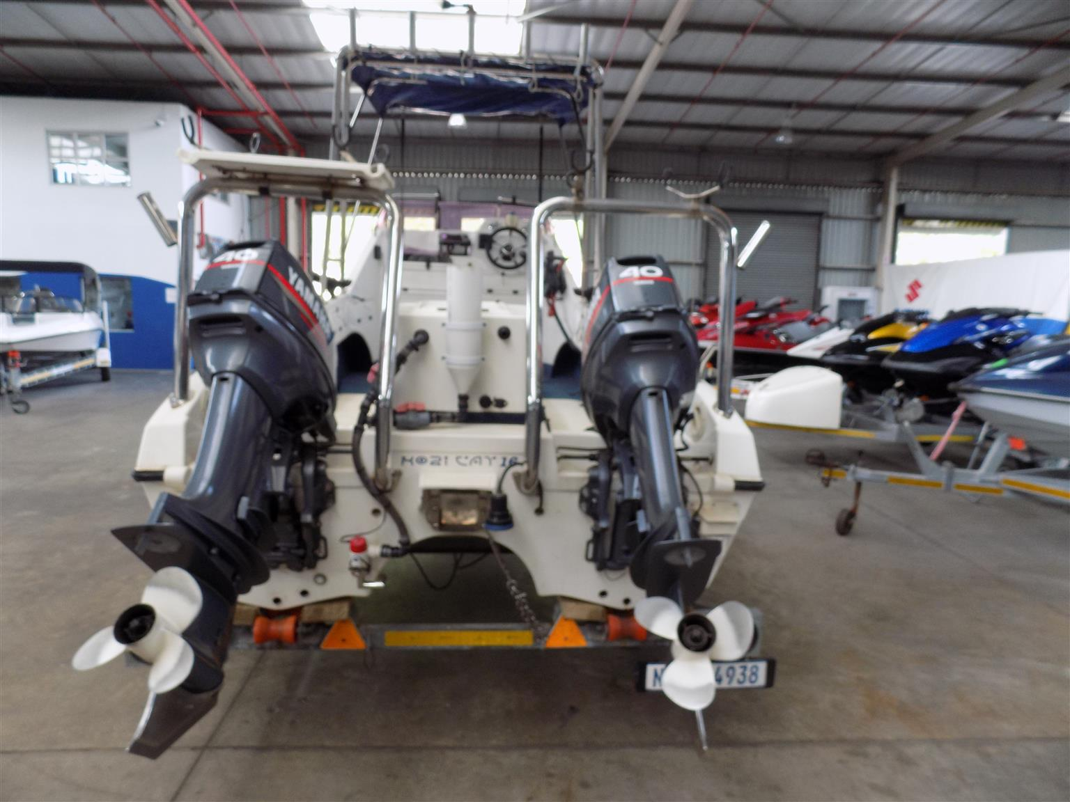 kosi  cat 16 ft on trailer 2 x 40 hp yamaha non trims