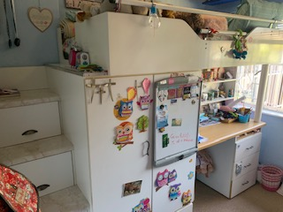 Single bunk bed with study desk and storage