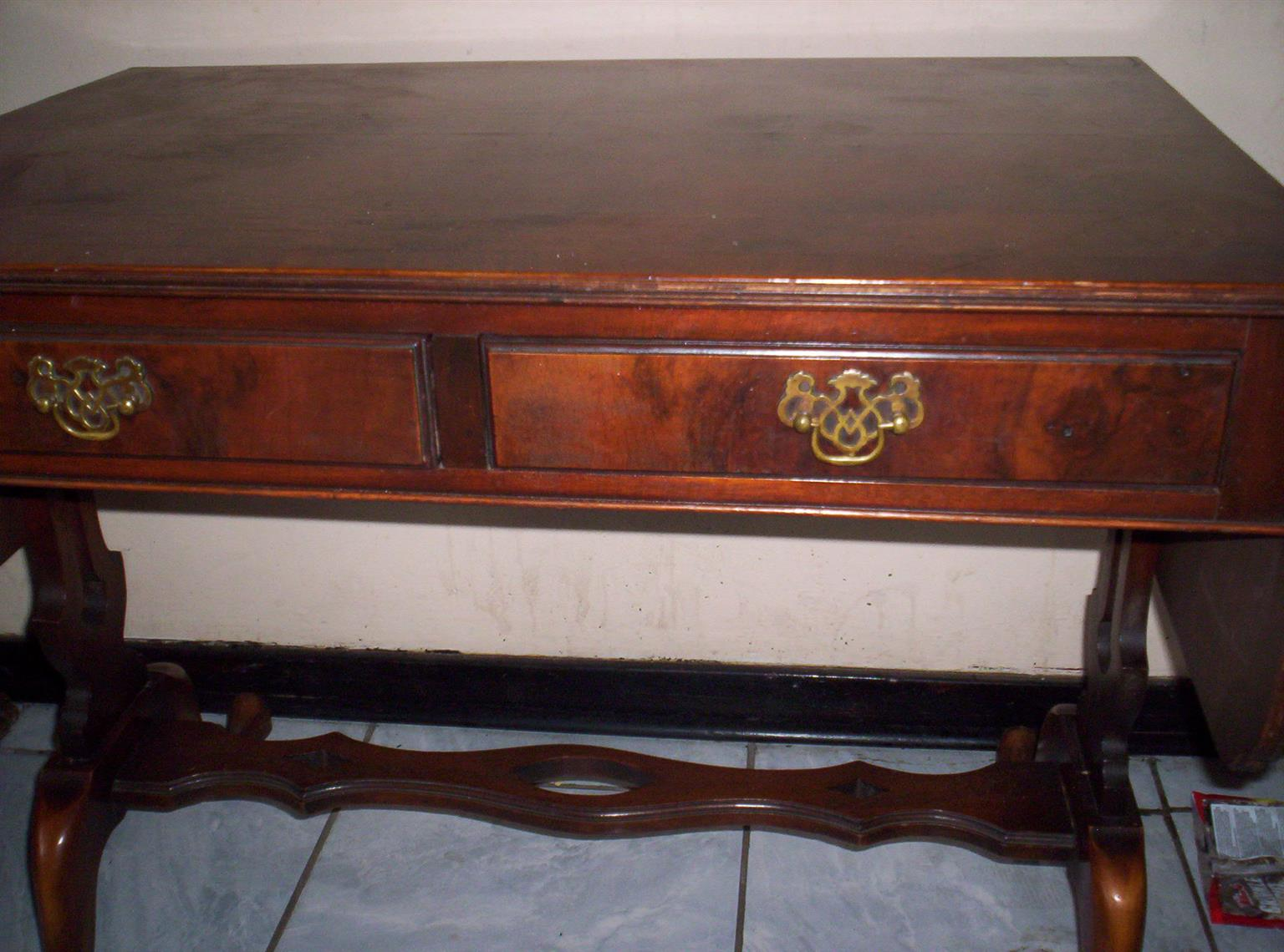 Two Drawer Drop Leaf Table