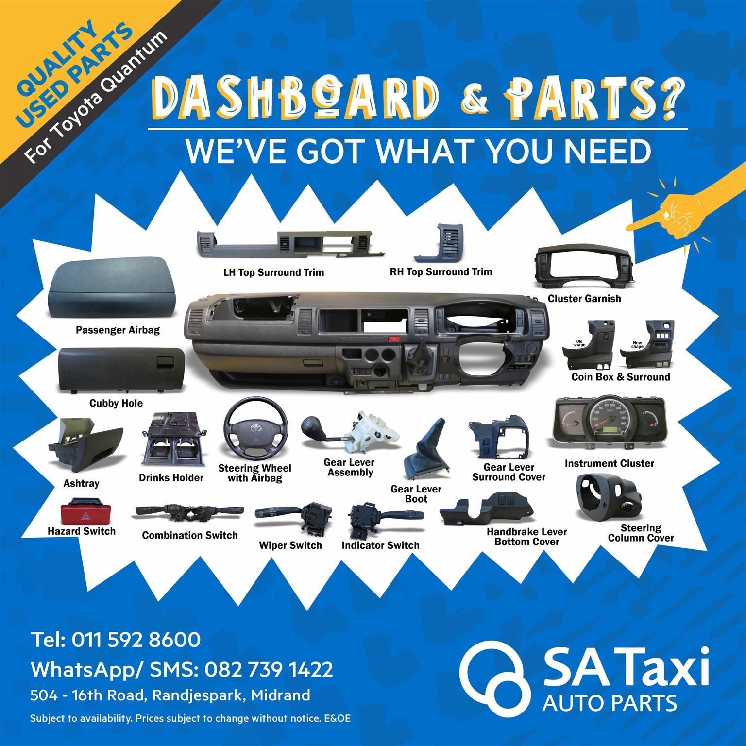 Quality used Dashboard and Parts for Toyota Quantum - SA Taxi Auto Parts