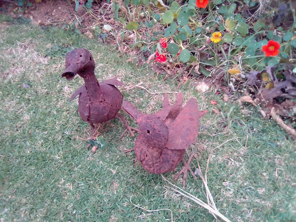 2 metal garden ducks