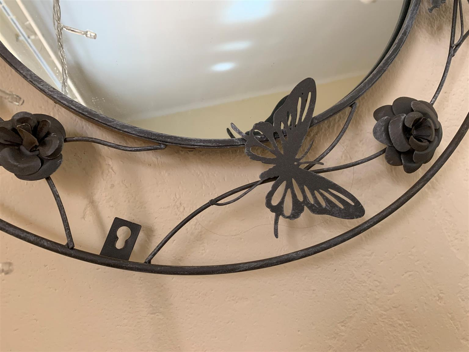 Butterflies & Roses Circular Iron Mirror