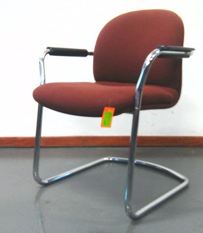 Maroon fabric chrome base chair