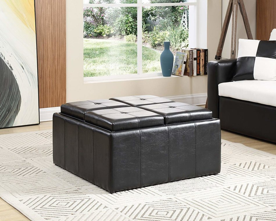 Hazlo Faux Leather Coffee Table Storage Ottoman with Flip Over Tray