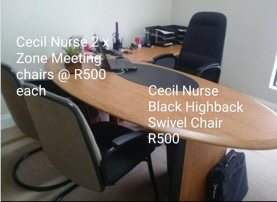 Cecil Nurse black highback swivel chair.