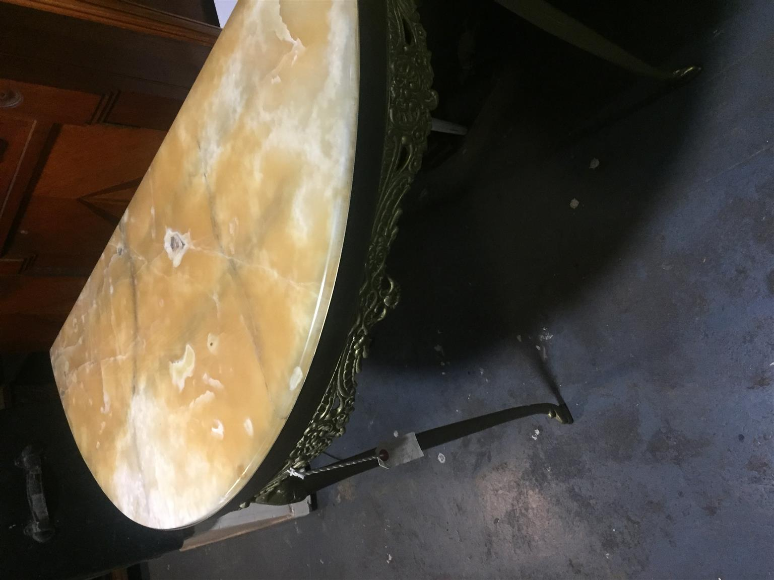 Half moon marble antique table