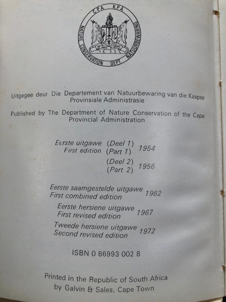 Vintage Book: Sommige beskermde voels van Kaapland, some protected birds of the Cape Province