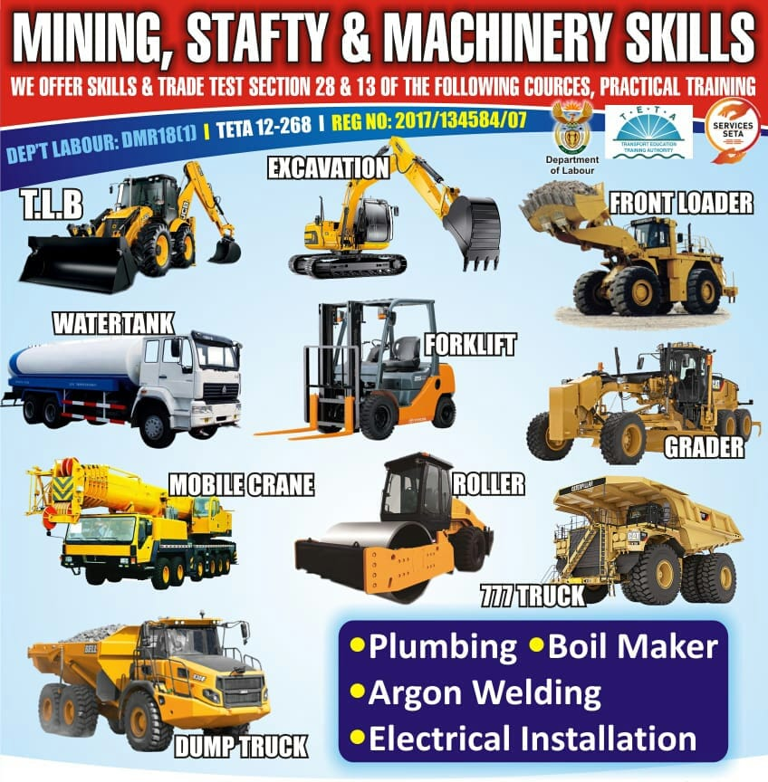 Trade test booking welding course LHD scoop dumper Excavator 777 dump truck Drill rig training skills.Accredited operator school