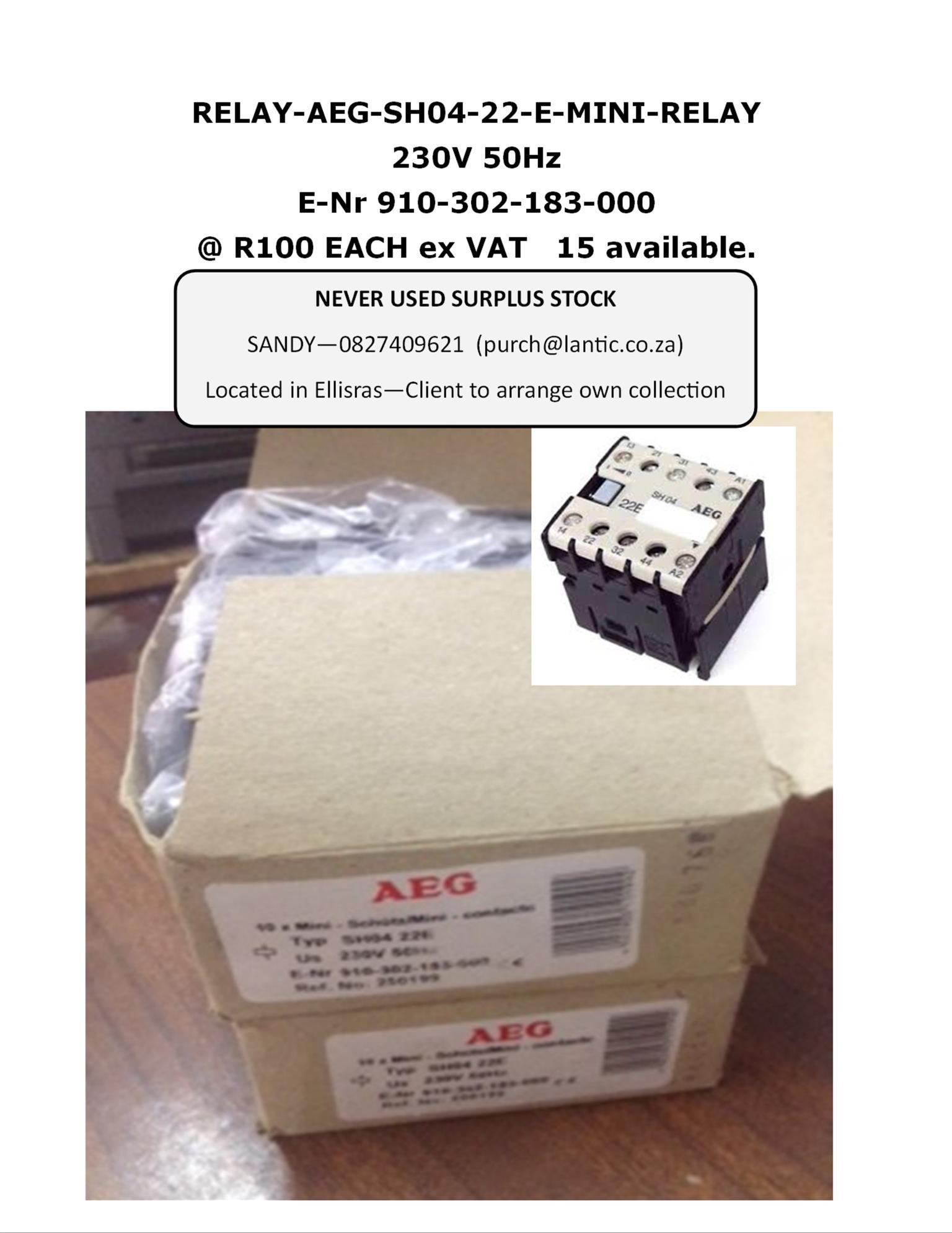 RELAY-AEG-SH04-22-E-MINI-RELAY 230V 50Hz  E-Nr 910-302-183-000