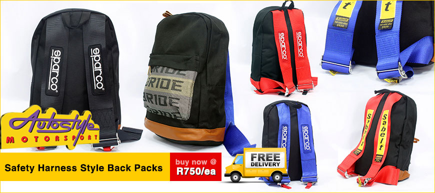 Safety harness racing motorsport back packs bags available. assorted colors. even motorbike bag turtle pack available and hard case ogi type