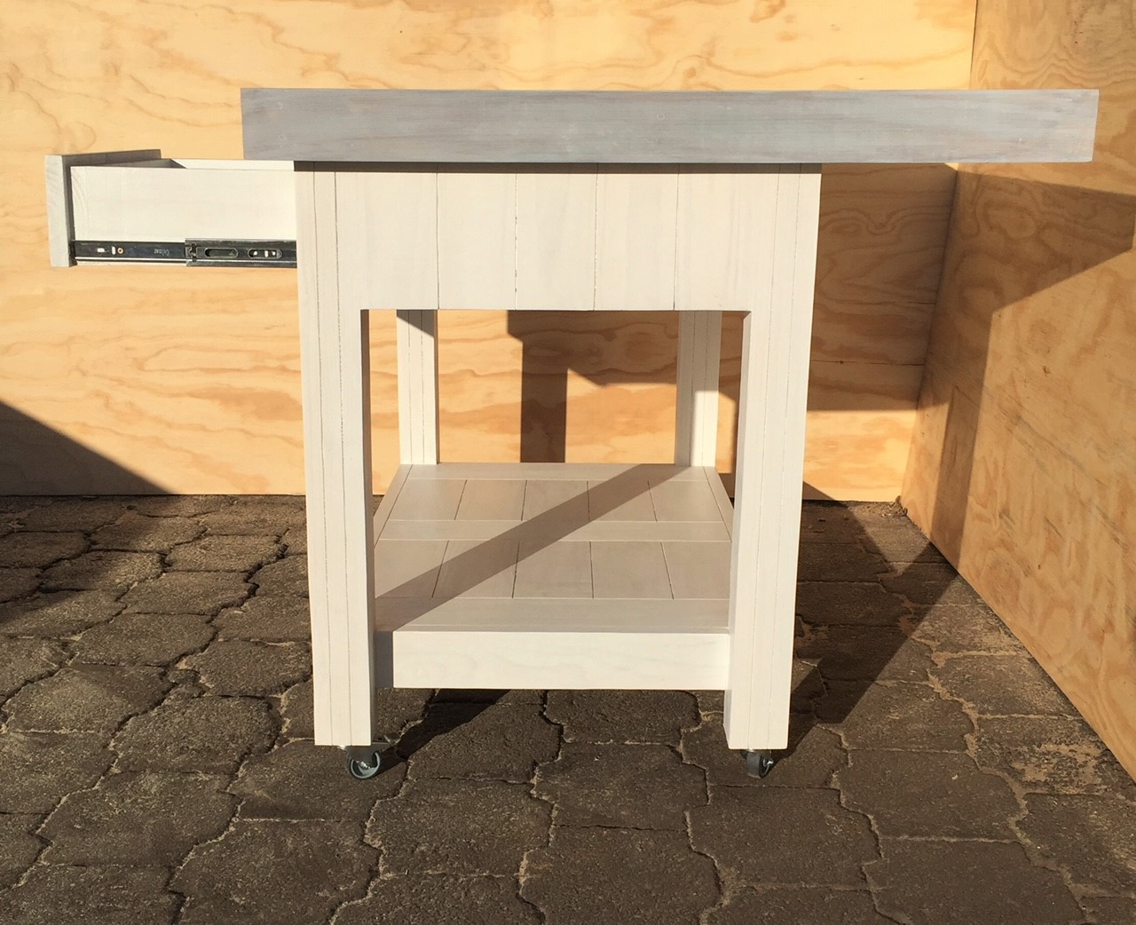 Kitchen Island Farmhouse series 1180 extended with 2 drawers mobile - Two tone