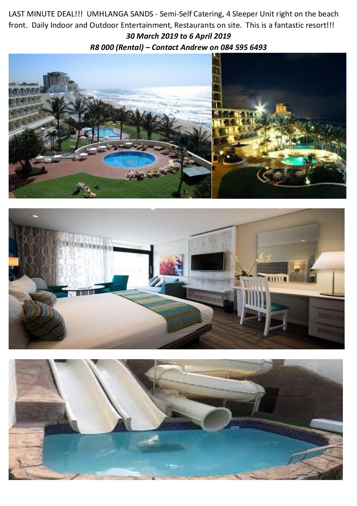 Full week rental at Umhlanga Sands 30 March to  6 April -4 Sleeper right on beachfront