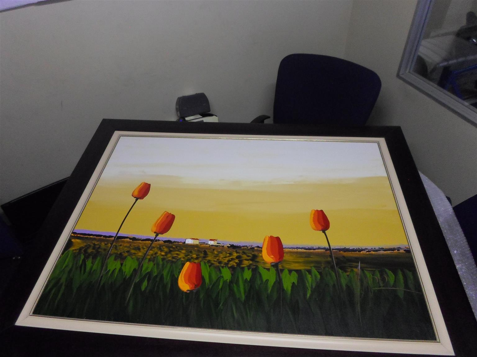Beautiful Tulip Landscape Painting