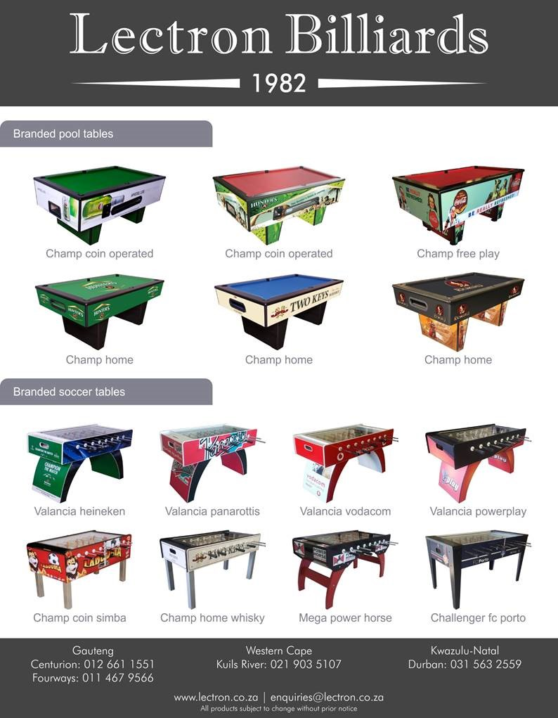 Snooker table, pool tables, soccer tables and other games