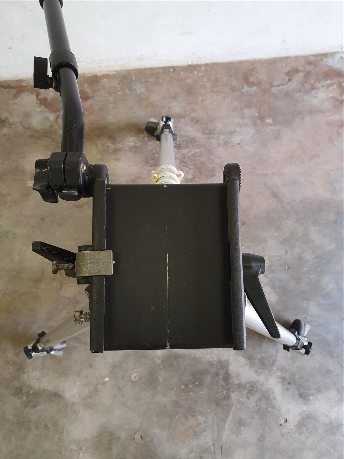Manfrotto TV Camera Tripod with Manfrotto friction head and Dolly. Working condition.