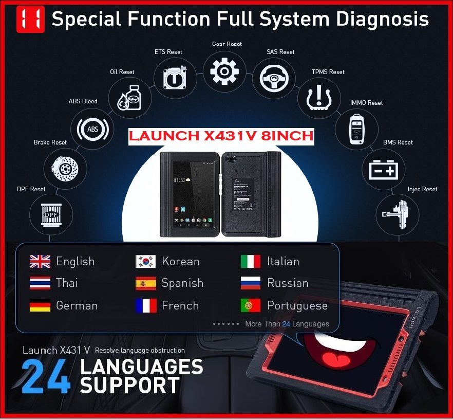 Car full diagnostic tool LATEST VERSION Launch X431 V 8inch PRO Tablet Full System Diagnostic