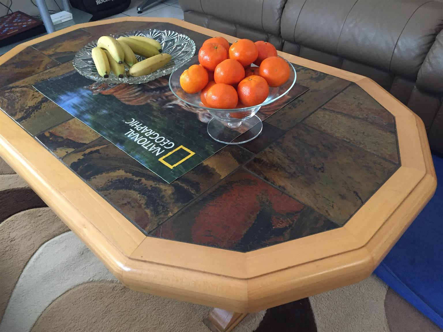 Solid Oak And Stone Slate Coffee Table Junk Mail