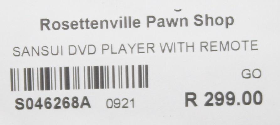 Sansui dvd player with remote S046268A #Rosettenvillepawnshop
